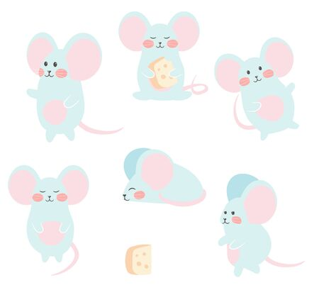 Set of funny mouse with cheese for design. Cute little mice in different poses. Vector illustration
