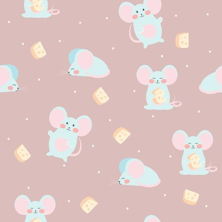 Mouse and cheese. Seamless vector pattern. Cute background for baby, kids, children