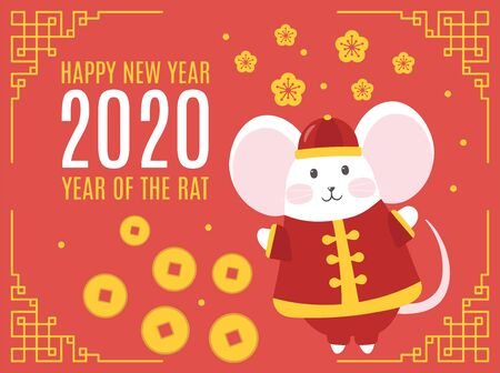 Template banner, poster, flyer image for chinese Happy new year party with rat, mice. Lunar horoscope sign mouse. Funny sketch mouse. Happy new year 2020. Vector illustration Stock fotó