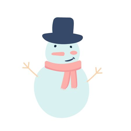 Vector illustration of cute cartoon snowman. Template for christmas or winter poster for kids, greeting cards, t-shirts. Isolated on white background Illustration