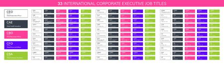 33 International corporate executive Job Titles, CEO CAE CBO CFO CSA CAO CCO CDO CFS CIO HR vector banners for web design, corporate organizational structure elements Illustration