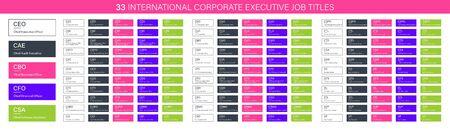 33 Titres de poste de dirigeant d'entreprise international, PDG CAE CBO CFO CSA CAO CCO CDO CFS CIO RH bannières vectorielles pour la conception Web, éléments de structure organisationnelle d'entreprise Vecteurs