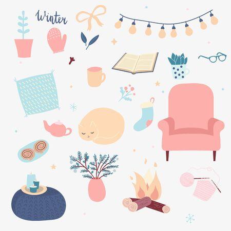 Vektor-Set von Winter-Hygge-Elementen. Isoliert auf weißem Hintergrund. Skandinavischer Stil. Gemütliche Heimsachen. Schlafende Katze, weicher Stuhl, stricken