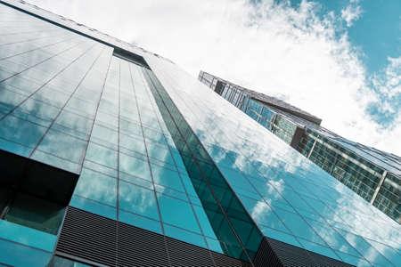 Skyscraper in a finance district, urban city architecture. Foto de archivo