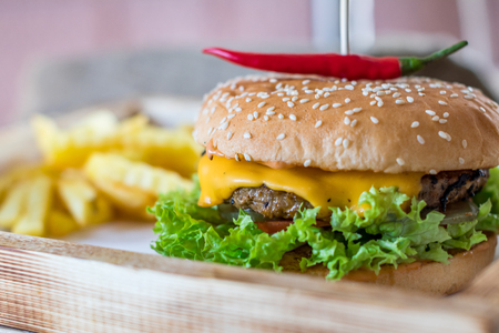 mustard leaf: burger and french fries