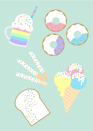 Group of desserts with pastel unicorn rainbow concept Illusztráció