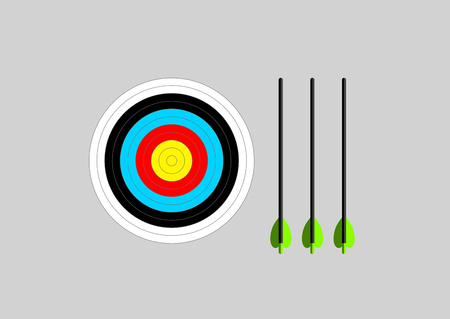 Bright colors archery target and arrows Ilustracja