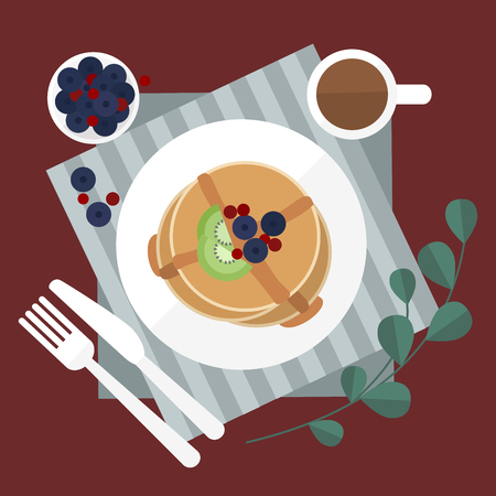 Minimal flat illustrate breakfast blueberry pancake and coffee on red table background