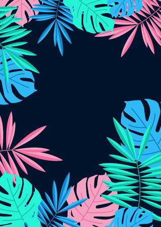 Tropical summer palm and monstera leaves border on night blue background