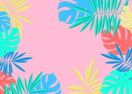 Tropical summer palm and monstera leaves border on pink background