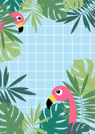 Tropical summer palm and monstera leaves  and flamingo border on blue swimming pool tiles  background