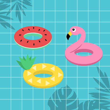 Tropical fruit watermelon pineapple and flamingo life ring on blue swimming pool background Zdjęcie Seryjne