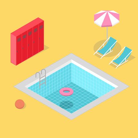 Isometric swimming pool with locker umbrella beach ball life ring and beach chair