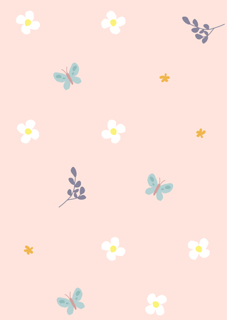 Flower and butterfly patterns on pastel pink background