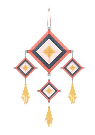 Colorful orange yellow and blue native gods eyes mobile illustrate