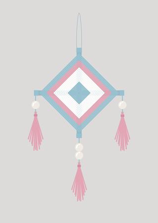 Pastel pink and blue native gods eyes mobile illustrate