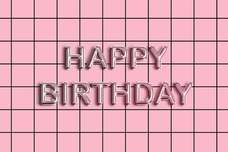 Happy Birthday foil text on pastel pink tile pattern background Zdjęcie Seryjne