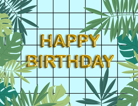 Happy birthday gold foil balloon texts card with tropical leaves on blue tiles background