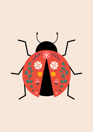 Red ladybug with flower and leaves prints