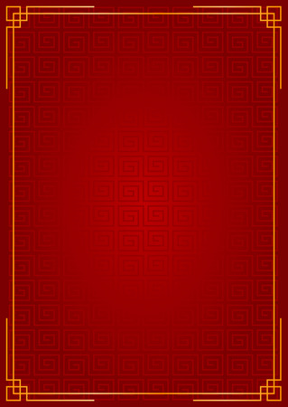 Chinese new year festival style red background with gold border frame