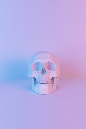Pastel neon blue and pink light paint on plaster skull