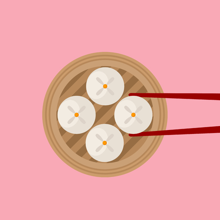 Traditional Siopao steamed buns with red chopsticks on pink background Ilustracja