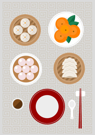 Chinese foods included Siopao Tangyuan Gyoza and fresh oranges Stock Vector - 121179459