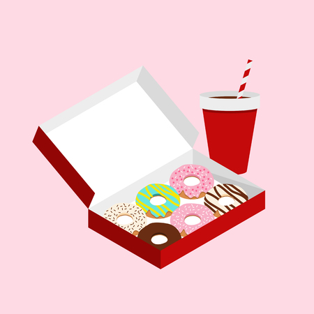 Cute doughnuts in red box with cola in red cup set