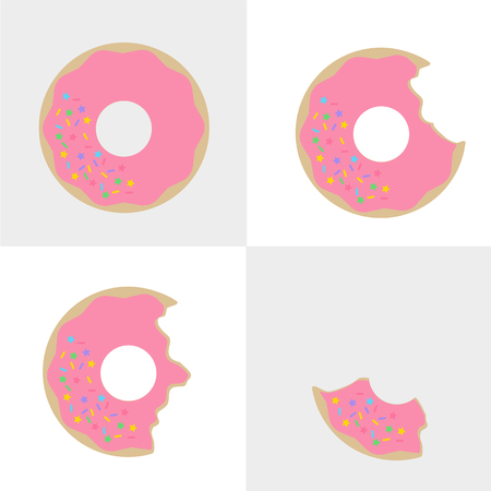 Strawberry flavor doughnuts with rainbow sugar glitter
