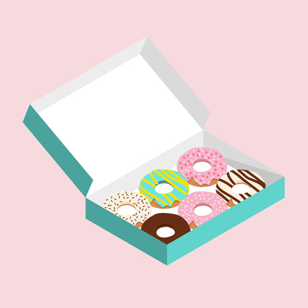 Cute doughnuts in turquoise green paper box on pastel pink background Ilustracja