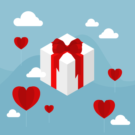 White gift boxes with red bow ribbon floating in the blue sky decorate with cloud and red heart shape paper balloon