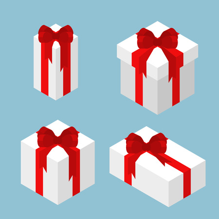 Various size of white gift boxes with red bow ribbon Ilustracja