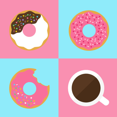 Strawberry and chocolate flavor doughnuts with rainbow sugar glitter and hot coffee Ilustracja
