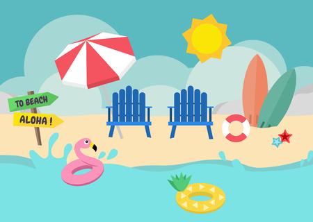 Blue beach chair and surfboard and umbrella on the beach under sun