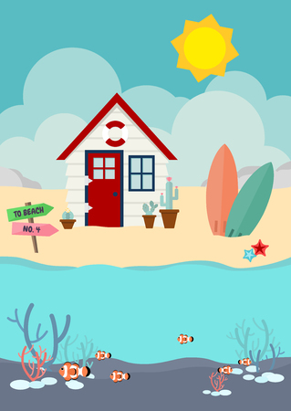 Beach house and cactus and surfboard on the beach with clownfish in the sea