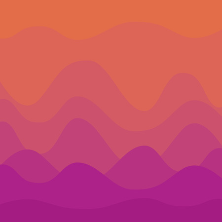 Abstract orange and violet sunset curvy background Ilustracja