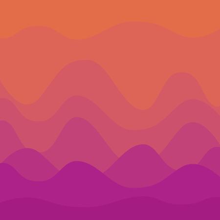 Abstract orange and violet sunset curvy background Illustration