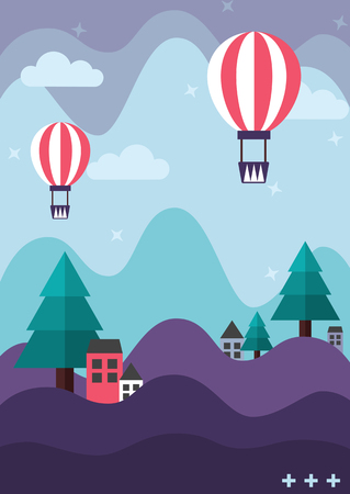 Purple mountain and turquoise green pine tree with houses and cute balloons floating in the pastel blue sky Ilustracja