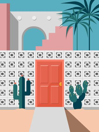 Pastel modern mid century building faced with red door and cactus coconut trees Ilustração