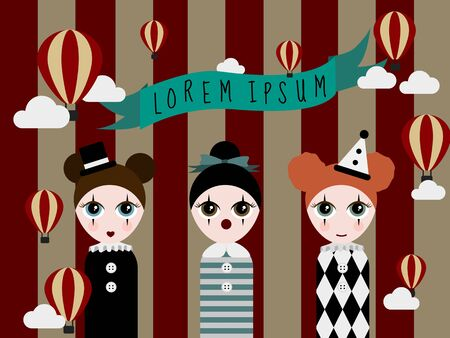 Three circus girls in on red stripped circus background decorated with floating balloons Иллюстрация