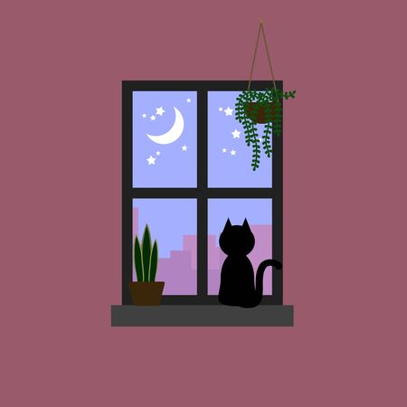 Black cat staring the moon and star on pastel purple sky through window decorated with house plants Illustration
