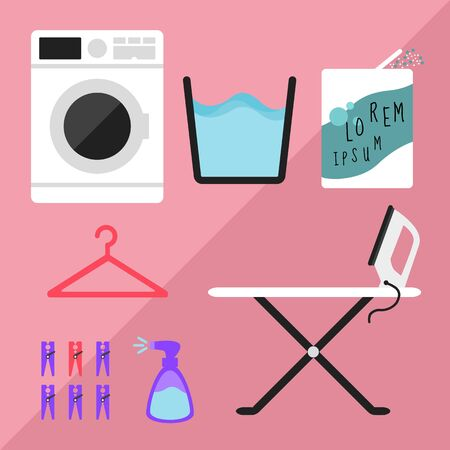 Clothes washing machine and detergent  and hanger and clothespin and ironing board and spray starch