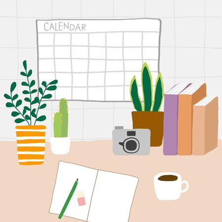 Minimal morning workspace with notebook camera houseplant and coffee vector  イラスト・ベクター素材