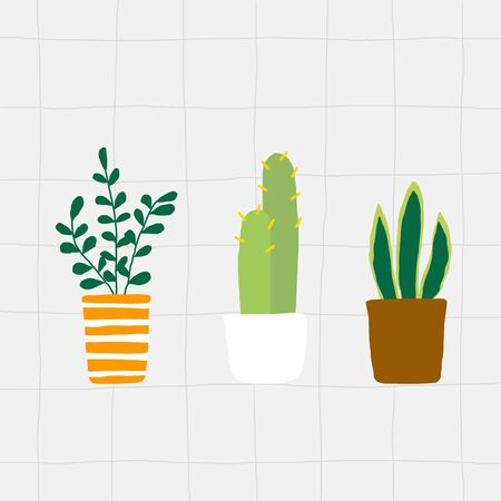 Flat illustration houseplant group in pot on grey tile background vector