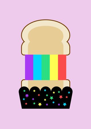 Grilled  rainbow cheese toast on pastel purple background