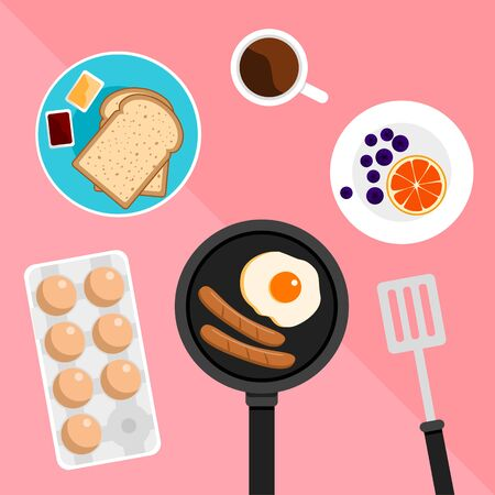 Breakfast set included bread butter jam and fried egg and sausage and orange on pastel pink background Иллюстрация