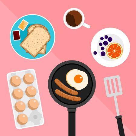 Zestaw śniadaniowy zawierał dżem chlebowy, jajko sadzone, kiełbasę i pomarańczę na pastelowym różowym tle Ilustracje wektorowe