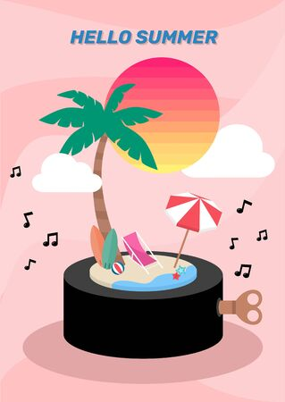 Summer island music box decorated with sun cloud umbrella on pastel pink background vector Çizim