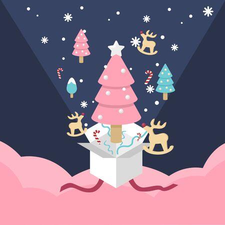 Christmas gift box explode wooden reindeer and Christmas pine tree  and snowflake vector