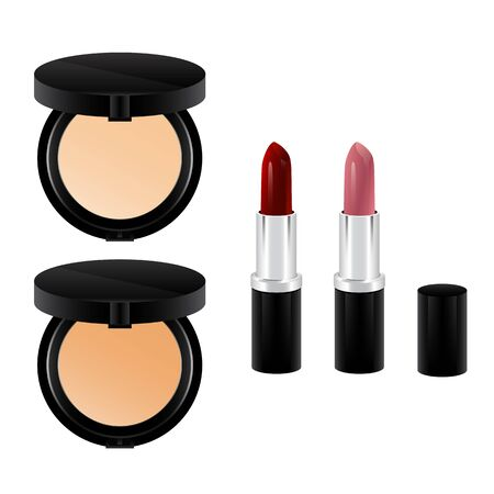 Pressed powder and red pink lipstick in black package vector